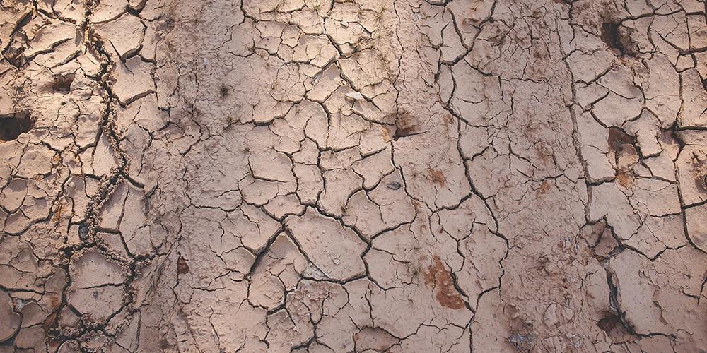 Durch Trockenheit rissiger Boden