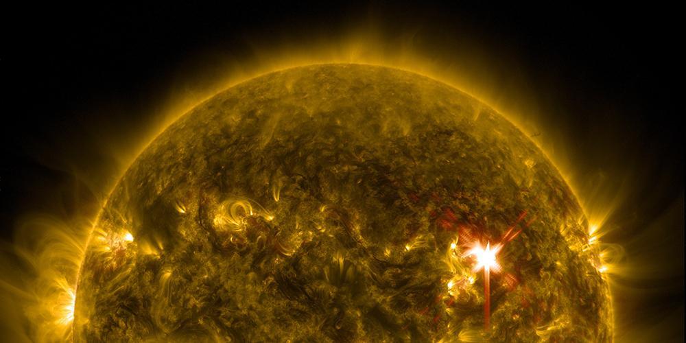 Bild der Sonne mit Sonneneruptionen